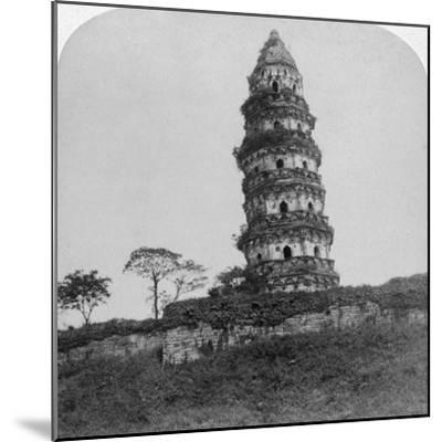 Tiger Hill Pagoda, the 'Leaning Tower, of Soo-Chow' (Suzho), China, 1900-Underwood & Underwood-Mounted Photographic Print