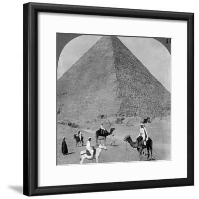 King Khufu's Tomb, the Great Phyramid of Giza, Egypt, 1905-Underwood & Underwood-Framed Photographic Print