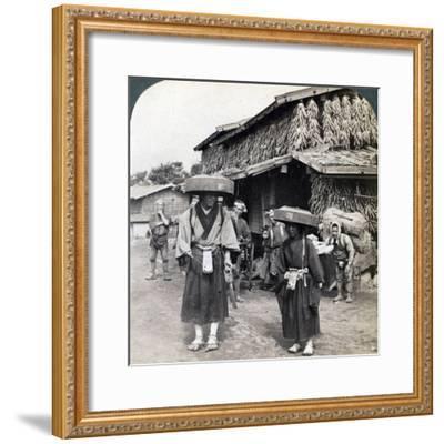 Pilgrim Beggars Beating Little Gongs, Near Lake Kawaguchi, Japan, 1904-Underwood & Underwood-Framed Photographic Print