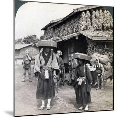 Pilgrim Beggars Beating Little Gongs, Near Lake Kawaguchi, Japan, 1904-Underwood & Underwood-Mounted Photographic Print