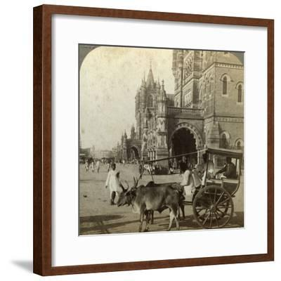 Ekka, Outside Victoria Station, Bombay, India, C1900s-Underwood & Underwood-Framed Photographic Print