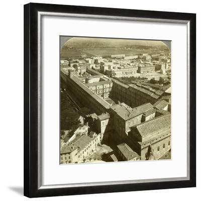 Vatican Palace from the Dome of St Peter's Basilica, Rome, Italy-Underwood & Underwood-Framed Photographic Print