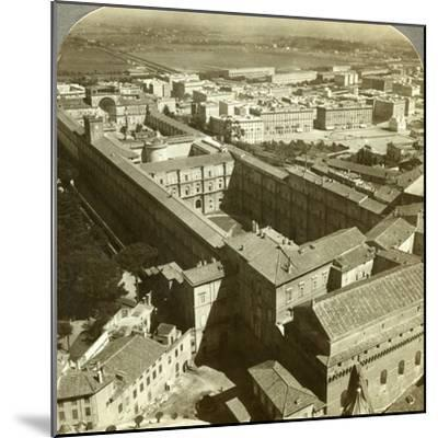 Vatican Palace from the Dome of St Peter's Basilica, Rome, Italy-Underwood & Underwood-Mounted Photographic Print