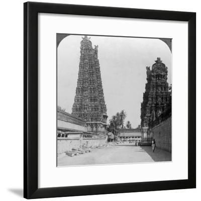 Gopuram, Sri Meenakshi Hindu Temple, Madurai, Tamil Nadu, India, C1900s-Underwood & Underwood-Framed Photographic Print