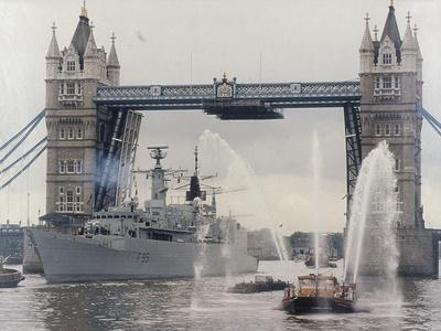 View of HMS London Sailing Beneath Tower Bridge, London, 1988--Framed Photographic Print