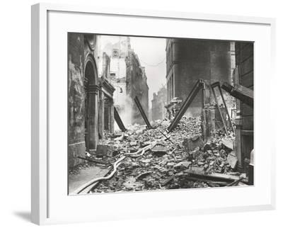 View Looking South Down Walbrook after an Air Raid, City of London, World War II, 1941--Framed Photographic Print
