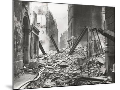 View Looking South Down Walbrook after an Air Raid, City of London, World War II, 1941--Mounted Photographic Print