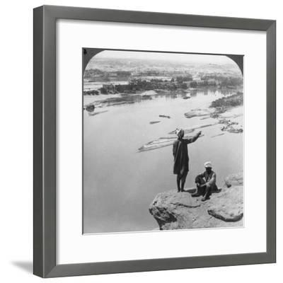 Aswan and the Island of Elephantine as Seen from the Western Cliffs, Egypt, 1905-Underwood & Underwood-Framed Photographic Print
