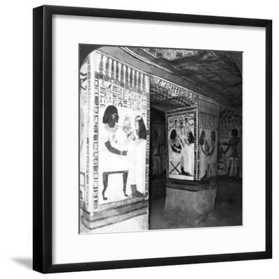 Painted Tomb Chamber Hewn in the Rock of the Cliffs at Thebes, Egypt, 1905-Underwood & Underwood-Framed Photographic Print