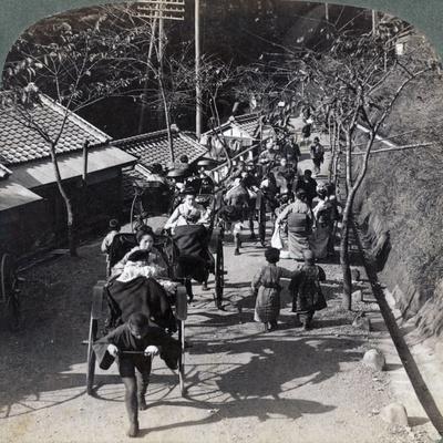 Riding to Daijingu Temple, for Shinto Festival of Worship of the Sun Goddess, Yokohama, Japan, 1904-Underwood & Underwood-Framed Photographic Print