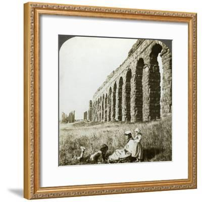 Aqueduct of Claudius and the Campagna, Rome, Italy-Underwood & Underwood-Framed Photographic Print