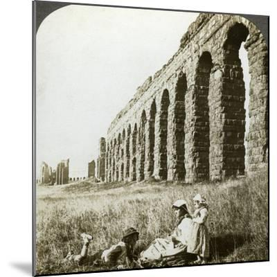 Aqueduct of Claudius and the Campagna, Rome, Italy-Underwood & Underwood-Mounted Photographic Print