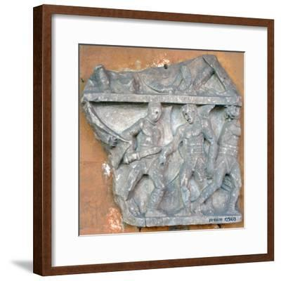 A Bas-Relief of a Fight Between Secutor and Retiarius, 3rd Century, Rome--Framed Photographic Print