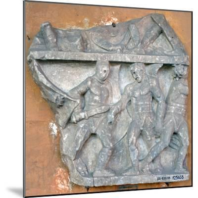 A Bas-Relief of a Fight Between Secutor and Retiarius, 3rd Century, Rome--Mounted Photographic Print