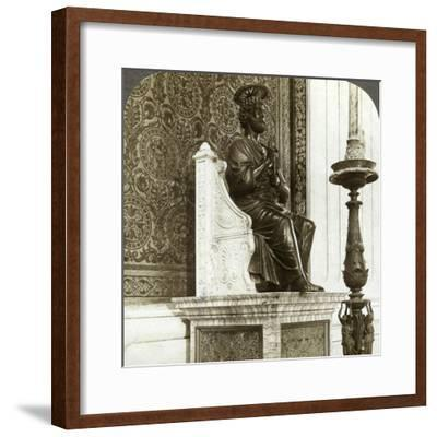 Statue of St Peter, St Peter's Basilica, Rome, Italy-Underwood & Underwood-Framed Photographic Print