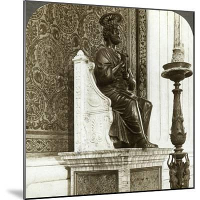 Statue of St Peter, St Peter's Basilica, Rome, Italy-Underwood & Underwood-Mounted Photographic Print