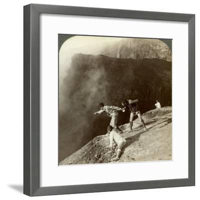 Gaving Through Sulphurous Vapors into the Crater's Depths, Aso-San, Japan, 1904-Underwood & Underwood-Framed Photographic Print