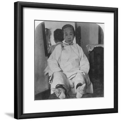 A High Caste Lady's Dainty 'Lily Feet, Showing Method of Deformity, China, 1900-Underwood & Underwood-Framed Photographic Print