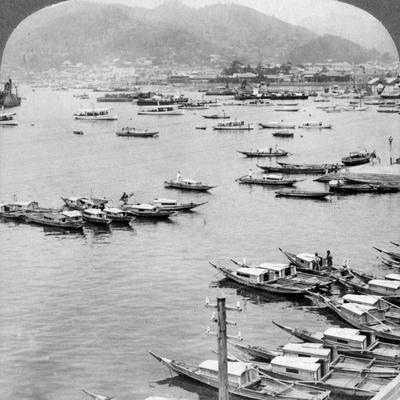 Looking North over Vessels in the Port of Nagasaki, Japan, 1904-Underwood & Underwood-Framed Photographic Print
