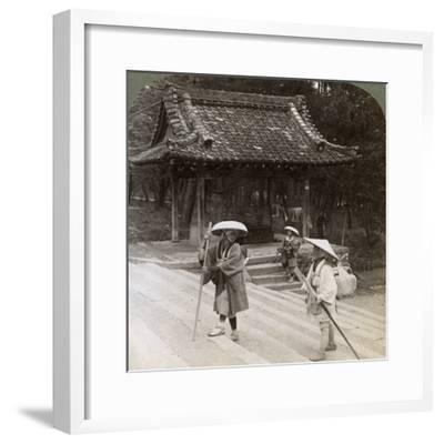 Women Pilgrims on the Steps of Omuro Gosho, Kyoto, Japan, 1904-Underwood & Underwood-Framed Photographic Print