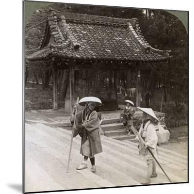 Women Pilgrims on the Steps of Omuro Gosho, Kyoto, Japan, 1904-Underwood & Underwood-Mounted Photographic Print