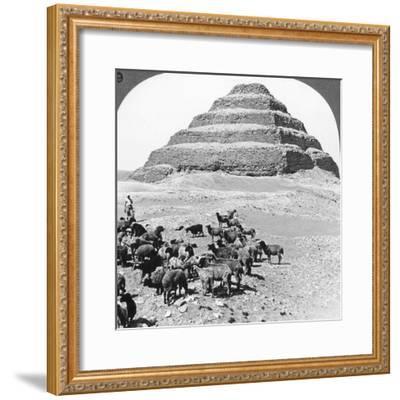 The Pyramid of Sakkarah, Egypt, 1905-Underwood & Underwood-Framed Photographic Print