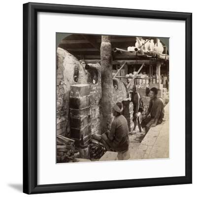 Workmen Watching Kilns Full of Awata Porcelain, Kinkosan Works, Kyoto, Japan, 1904-Underwood & Underwood-Framed Photographic Print