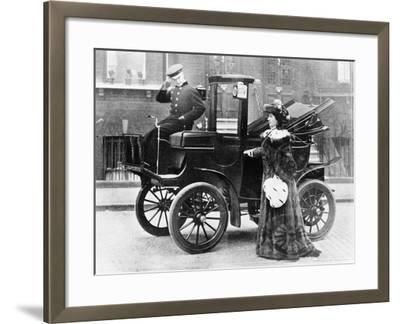 Lillie Langtry Modelling a Sable Motoring Coat--Framed Photographic Print