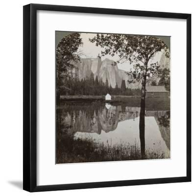 Mirror View of Cathedral Rocks, Yosemite Valley, California, USA, 1902-Underwood & Underwood-Framed Photographic Print