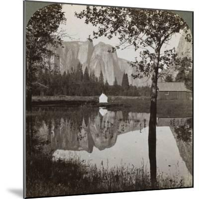 Mirror View of Cathedral Rocks, Yosemite Valley, California, USA, 1902-Underwood & Underwood-Mounted Photographic Print