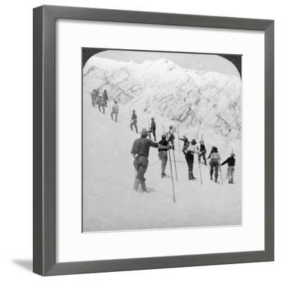 Ascending a Steep Snowfield, Stevens Glacier, Mount Rainier, Washington, USA-Underwood & Underwood-Framed Photographic Print