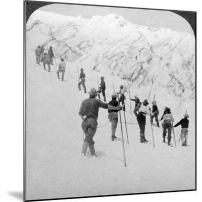 Ascending a Steep Snowfield, Stevens Glacier, Mount Rainier, Washington, USA-Underwood & Underwood-Mounted Photographic Print