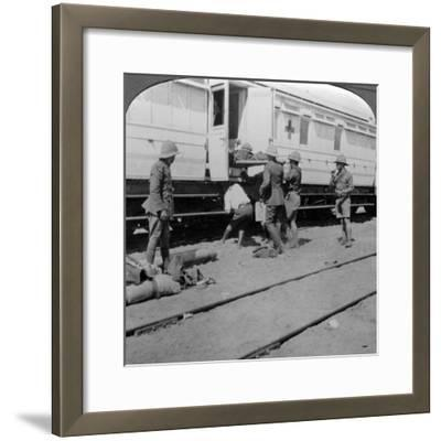Lifting Wounded Soldiers onto a Hospital Train, East Africa, World War I, 1914-1918--Framed Photographic Print