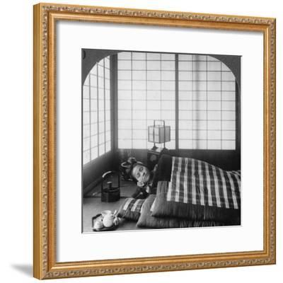 A Geisha Sleeping in a Tea House, Hikone, Japan, 1904-Underwood & Underwood-Framed Photographic Print