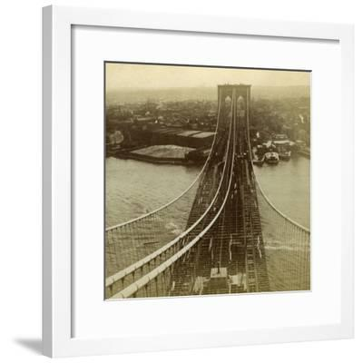 Brooklyn from One of the Towers of the Suspension Bridge, New York, USA--Framed Photographic Print