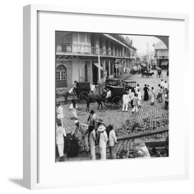 Rosario Street and Binondo Church as Seen from Pasig River, Manila, Philippines, 1899-Underwood & Underwood-Framed Photographic Print