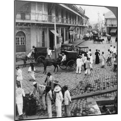 Rosario Street and Binondo Church as Seen from Pasig River, Manila, Philippines, 1899-Underwood & Underwood-Mounted Photographic Print