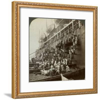 Coaling the Pacific Mail Ss 'Siberia, at the Fortified Naval Station of Nagasaki, Japan, 1904-Underwood & Underwood-Framed Photographic Print