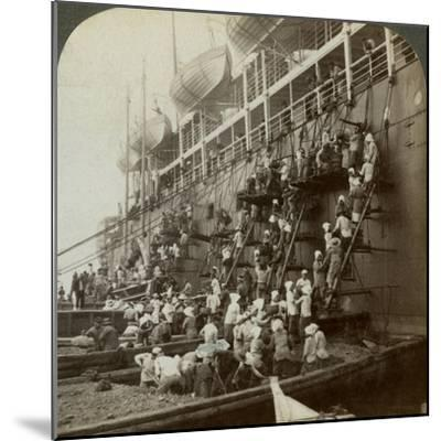 Coaling the Pacific Mail Ss 'Siberia, at the Fortified Naval Station of Nagasaki, Japan, 1904-Underwood & Underwood-Mounted Photographic Print
