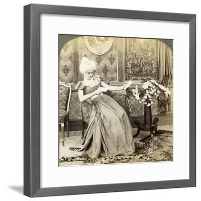 The Colonial Maiden's Dilemma, Two Proposals, Which Will Be Accepted-Underwood & Underwood-Framed Photographic Print