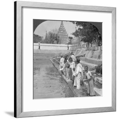 Pilgrims Feeding Holy Turtles, Arakan Pagoda, Mandalay, Burma, 1908--Framed Photographic Print