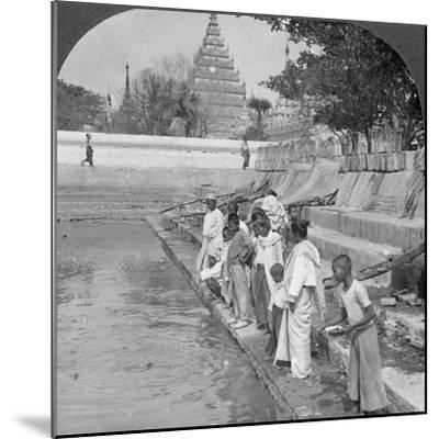 Pilgrims Feeding Holy Turtles, Arakan Pagoda, Mandalay, Burma, 1908--Mounted Photographic Print