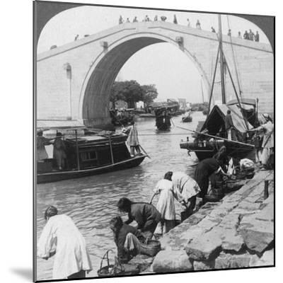 Woo Men Bridge and Grand Imperial Canal, Soo-Chow (Suzho), China, 1900-Underwood & Underwood-Mounted Photographic Print