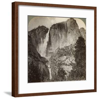 Yosemite Point and Wind-Blown Yosemite Falls, Yosemite Valley, California, USA, 1902-Underwood & Underwood-Framed Photographic Print