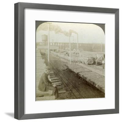Plant and Switchyards of a Wood Preserving Company, Escanaba, Michigan, USA-Underwood & Underwood-Framed Photographic Print