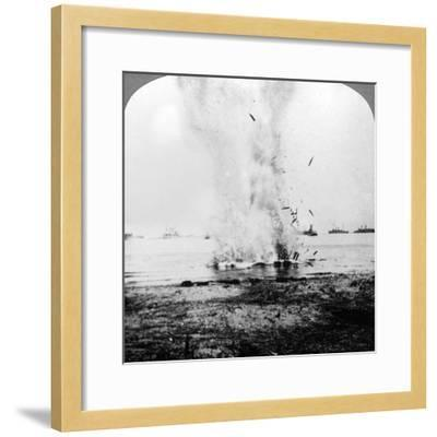 Trapped German Submarine Driven Inshore and Destroyed, World War I, 1914-1918--Framed Photographic Print