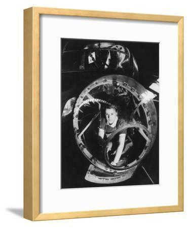 A Woman Working on a Lancaster Bomber, Second World War, 1940s--Framed Photographic Print
