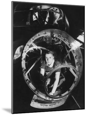 A Woman Working on a Lancaster Bomber, Second World War, 1940s--Mounted Photographic Print