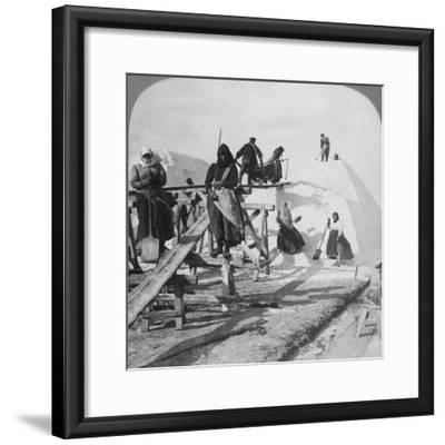 Stacking Salt in the Great Salt Fields of Solinen, Black Sea, Russia, 1898-Underwood & Underwood-Framed Photographic Print