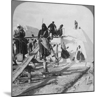 Stacking Salt in the Great Salt Fields of Solinen, Black Sea, Russia, 1898-Underwood & Underwood-Mounted Photographic Print